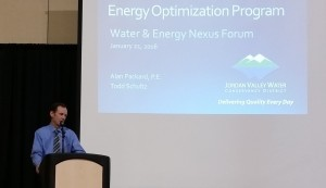 Jordan Valley Water's Alan Packard presents at the forum.